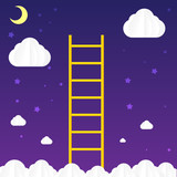 Ladder to sky with cloud and star - vector illustration