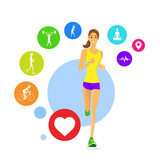 Sport Woman Run Fitness App Tracker Icons Wearable Technologies poster