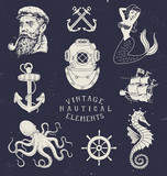 Fototapety Vintage Hand Drawn Nautical Set