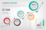 timeline & milestone company history infographic in vector style
