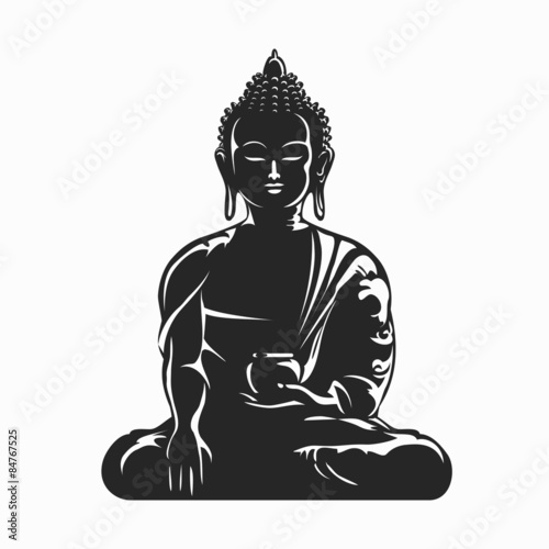 Poster Buddha vector silhouette