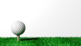 Fototapety Golf ball on green turf isolated on white background