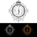 Letter D. Luxury Logo template flourishes calligraphic elegant ornament lines. Business sign, identity for Restaurant, Royalty, Boutique, Hotel, Heraldic, Jewelry, Fashion, vector illustration poster
