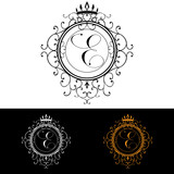 Letter E. Luxury Logo template flourishes calligraphic elegant ornament lines. Business sign, identity for Restaurant, Royalty, Boutique, Hotel, Heraldic, Jewelry, Fashion, vector illustration poster