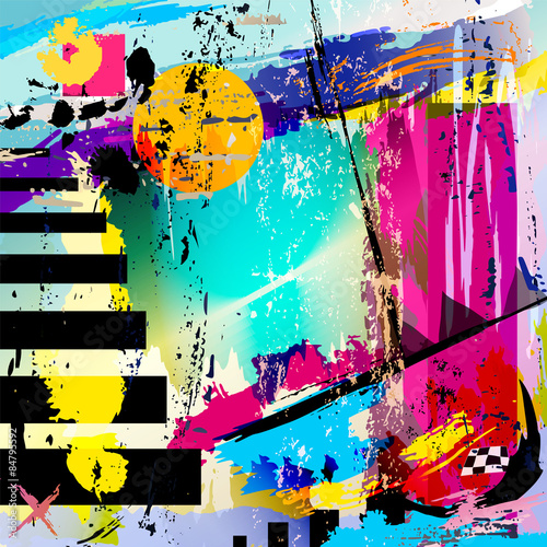 abstract background, with squares, triangles, paint strokes and © Kirsten Hinte