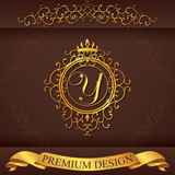 Letter Y. Luxury Logo template flourishes calligraphic elegant ornament lines. Business sign, identity for Restaurant, Royalty, Boutique, Hotel, Heraldic, Jewelry, Fashion, vector illustration poster