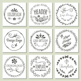 Hand drawing logo design with wreath and floral elements