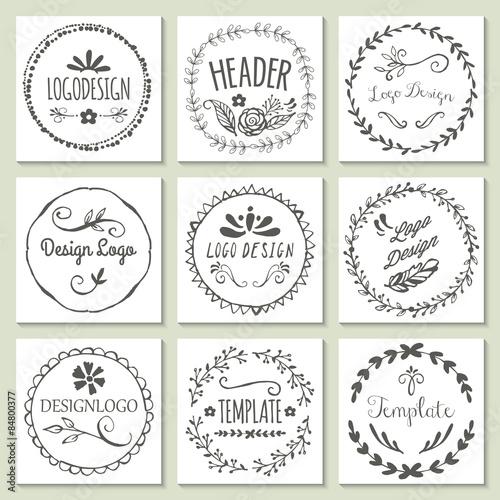 Zdjęcia na płótnie, fototapety, obrazy : Hand drawing logo design with wreath and floral elements