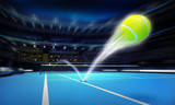 Fototapety tennis ball ace strike on a blue court in motion blur