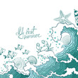 Summer illustration of ocean waves and marine life.
