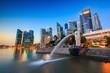 The Merlion fountain Singapore skyline.