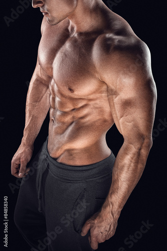 Poster Body of muscular male with great physique