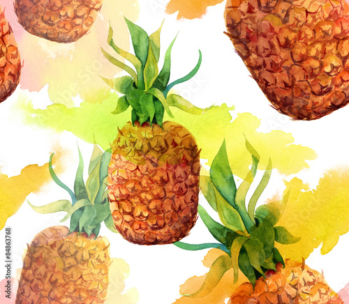 Watercolour pineapple seamless background pattern