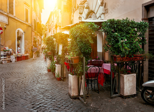 Old street in Trastevere in Rome, Italy плакат