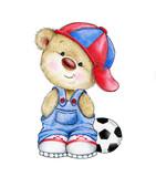 Cute Teddy bear boy with ball - 84877150