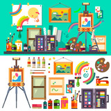 Fototapety Art studio interior with all tools and materials for painting and creature