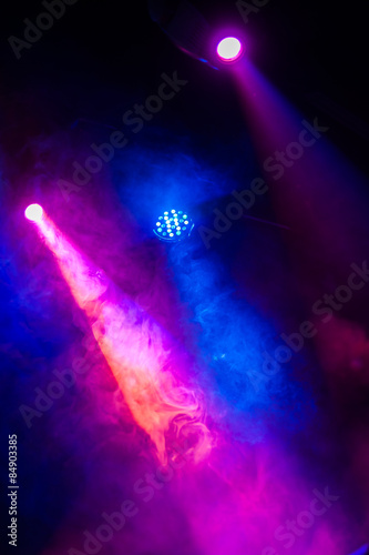 Stage lights/light; stage; disco; club; background; show; night; music; smoke; effect; spotlights; concert; decoration; special; dark; red; celebration; rhythm; entertainment; color; festival; party - 84903385