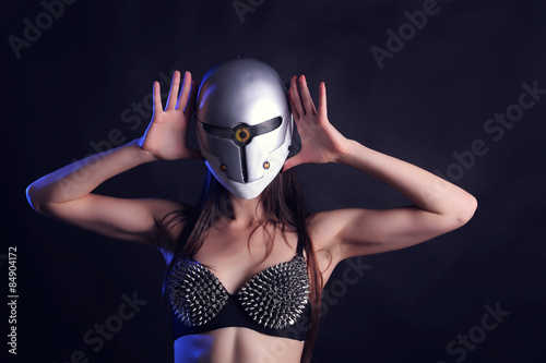Sexy female go go dancer with mask Poster