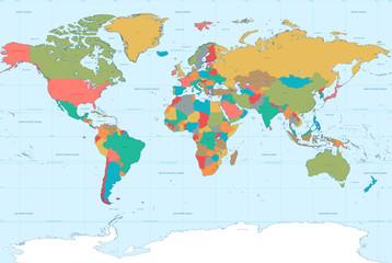 Flat Colors World Map