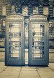 Vintage image of the famous phone booths in London