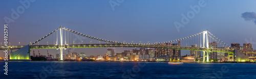 Fototapeta Panorama view of Tokyo bay and rainbow bridge