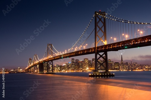 Poster Dusk over San Francisco Bay Bridge and Skyline from Yerna Buena Island