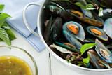 scald mussel with spicy seafood sauce poster