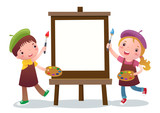 Fototapety Cartoon kids with painting canvas