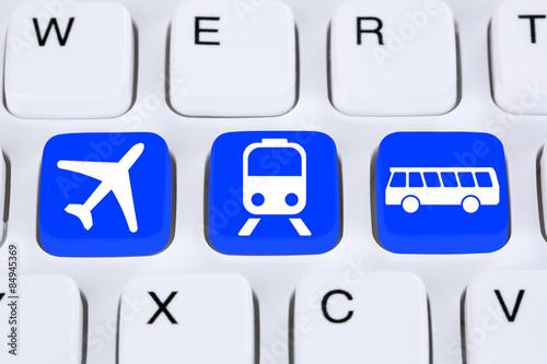 Poster Reise online im Internet buchen mit Flugzeug, Bahn oder Bus