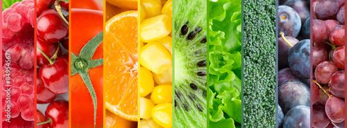 Fotobehang Vruchten Color fruits, berries and vegetables background