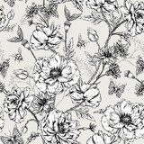 Summer Monochrome Vintage Floral Seamless Pattern with Blooming