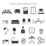 Fototapety Furniture Mono Icons Set