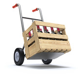 Hand truck with wine bottles in a wooden crate