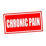Chronic pain white stamp text on red backgroud poster