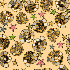 Hand drawn Zentangle seamless pattern on color background. Use for cards, invitation, wallpapers, pattern fills, web pages elements and etc.