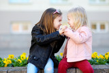Two little sisters fighting
