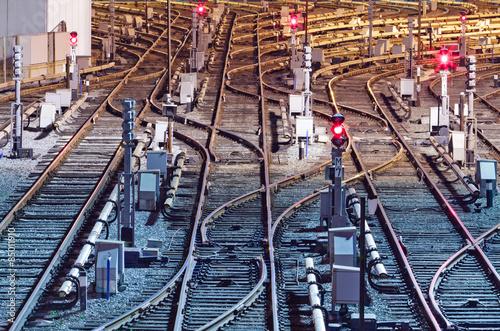 Foto op Plexiglas Kiev Night view of rail tracks in depot, Kiev