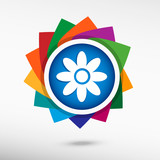 Pictograph of flower. Flat design style  poster