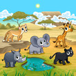 Set of funny wild animals in the nature