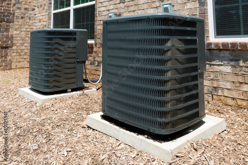 Poster Residential building air conditioning units