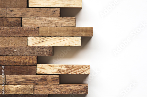 Tuinposter Hout Stack of wooden bars.