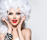 Fototapety Funny surprised woman in white feather wig