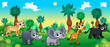 Green forest with wild animals