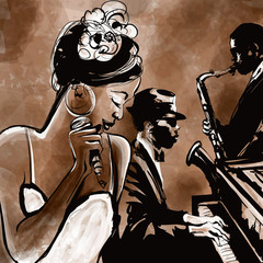 Jazz band with singer, saxophone and piano - illustration © Isaxar