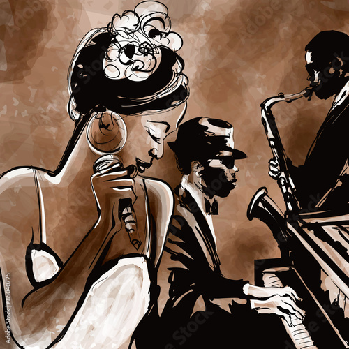 Jazz band with singer, saxophone and piano - illustration - 85040725
