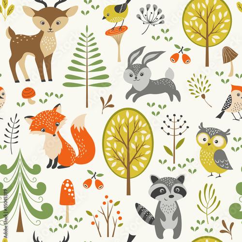 bezszwowy-lato-las-wzor-z-slicznymi-lesnymi-zwierzetami-drzewami-pieczarkami-i-jagodami