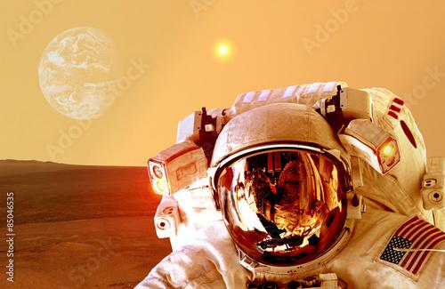 Foto op Canvas Baksteen Astronaut Spaceman Mars Planet