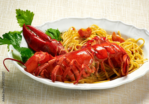Gourmet Tasty Lobster with Linguine Pasta on Plate Poster