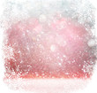 white, red and silver abstract bokeh lights. defocused background with snowflake overlay
