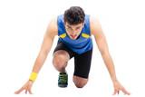 Fototapeta Sports man getting ready to run